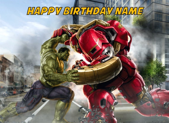 Hulk Vs Hulkbuster Edible Image Cake Topper Personalized 1 4