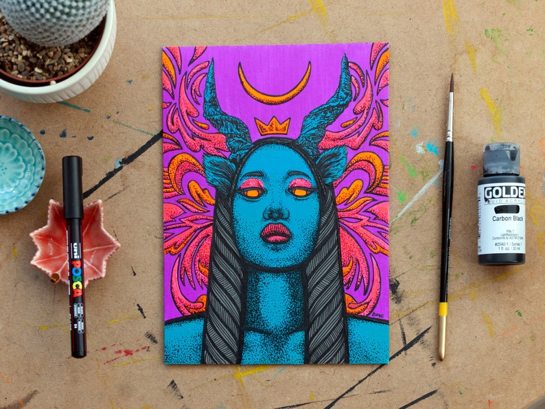 Lockdown Girl #5 \u2013 Original painting of a psychedelic emo goth girl with horns Uses UV Black Light fluorescent glow neon paints