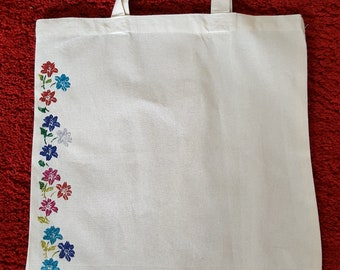 Tote Bag - Hand Decorated Flowers