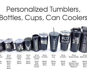 Personalized Custom Engraved Tumblers, Insulated Coffee Cup, Travel Mug, Stainless Steel Tumbler, Monogram Tumbler, CRU CUPS, Custom Gifts