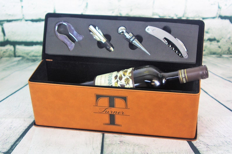 Personalized Leather Wine Box Wine Accessories Wine Opener Wine Stopper Foil Cutter Wine Pourer Wine Gift Box Wine Tool Wedding Gift