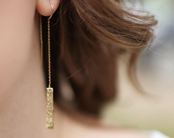 14KT Hammered Threader Earrings