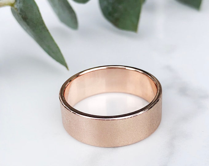 Ladies 7mm Silk Finish 10KT Solid Rose Gold Band