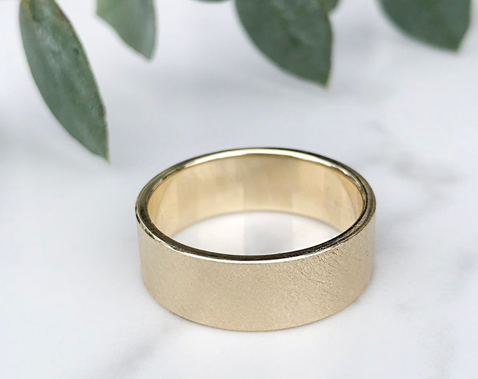 Ladies 7mm Scratch Finish 10KT Solid Yellow Gold Band