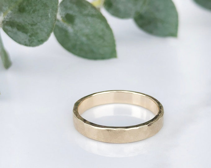 Ladies 3mm Raw Hammered 10KT Yellow Gold Band