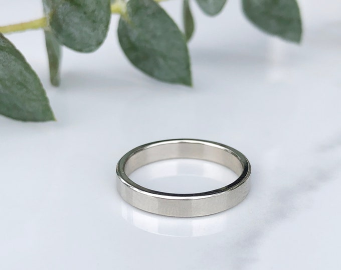 Ladies 3mm High Polish 10KT White Gold Band
