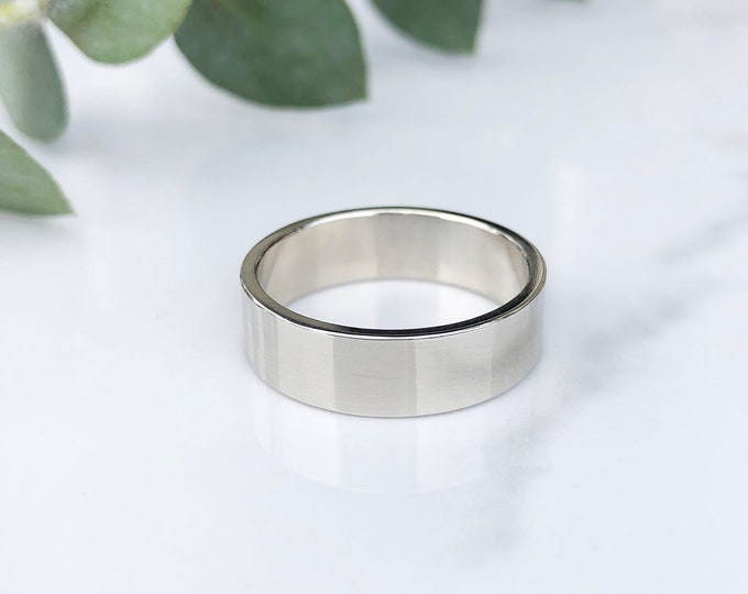 Ladies 6mm High Polish Pipe Style 10KT Solid White Gold Band