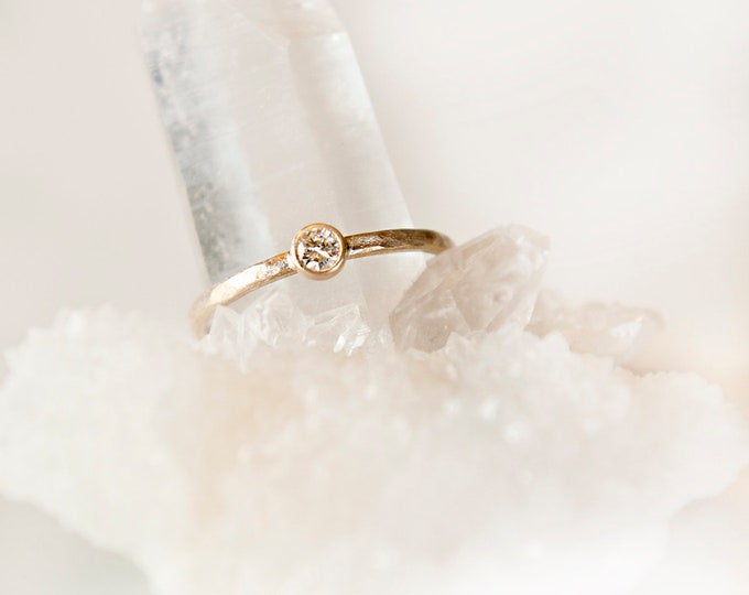 10KT Solid Gold Bezel Set Canadian Diamond Ring
