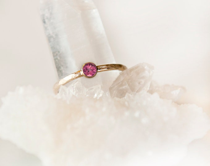 10KT Yellow Gold Pink Tourmaline Birthstone Ring