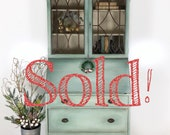 SOLD Vintage Secretary Tall Desk, Hutch, Storage, Solid Wood, Original Hardware, Drop Front, Slant Top, Linen Closet, French Country,