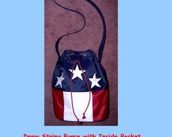 Drawstring purse designed like the American Flag