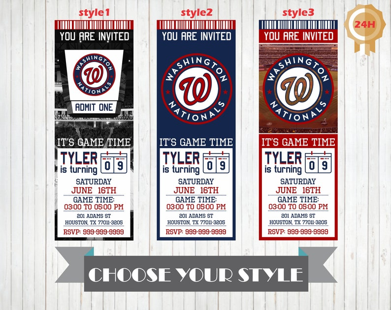 photograph about Washington Nationals Printable Schedule named Washington Nationals Invitation, Printable Washington Nationals Birthday Invitation, Birthday Occasion Invites, Customized Invitations