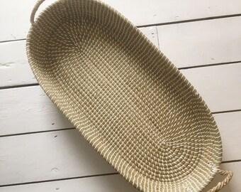 Natural Seagrass Oval Storage Basket. Baby Moses Basket. Changing Basket. Baby Shower Gift. Nursery Decor