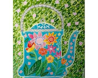 Green pot painting - illustration