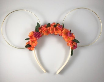 Floral Mickey Ears - Orange and Pink