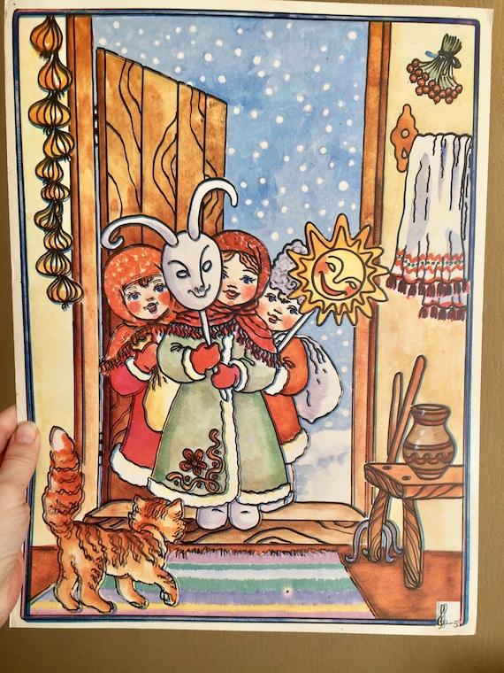 ORIGINAL Ukrainian Folk Art Kids Poster Nursery linoprint poster the 1970 Vintage children/'s room decor Vintage children/'s cute wall art