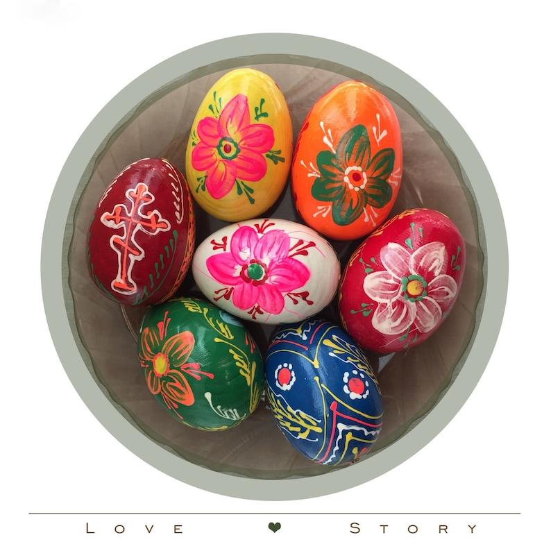 Original Ukrainian Folk art Ukrainian Wooden Easter Eggs Set of 7 Hand painted Pysanki Easter Eggs Easter Home Decor Happy Easter Gifts