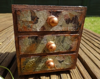 Charming Mini Knick-Knack Box – 3 Drawer -  Vintage Travel