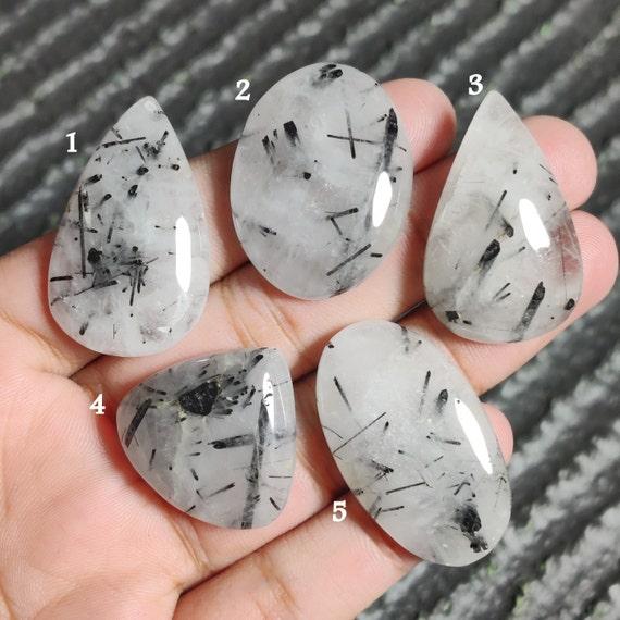 #GP1641 Loose flat back semi precious gemstone cabochon hand polished Natural Black Rutile Cabochon 3 Pcs