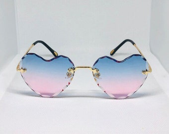 643d8fded UVB 400 Protection rimless pink blue ombre heart shaped sunglasses