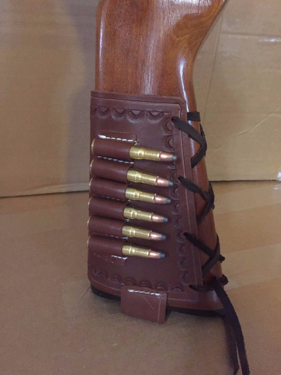 30 30 Winchester Caliber Leather Ammo Cartridge Rifle Stock Buttstock Cover Holder
