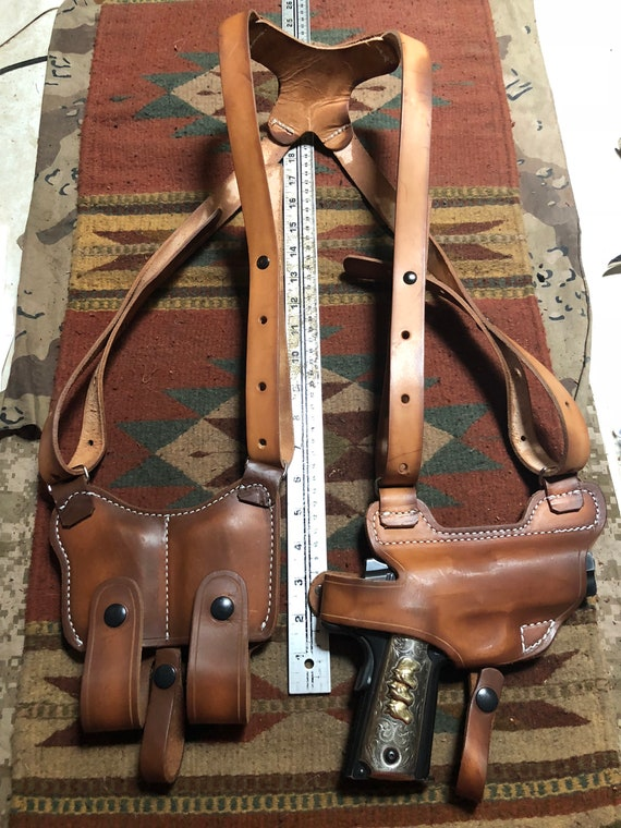 FITS Colt Kimber Springfield Ruger Remington RIA Citadel 45 Model 1911  Tanned Leather Shoulder Holster & Mag Pouch Horizontal