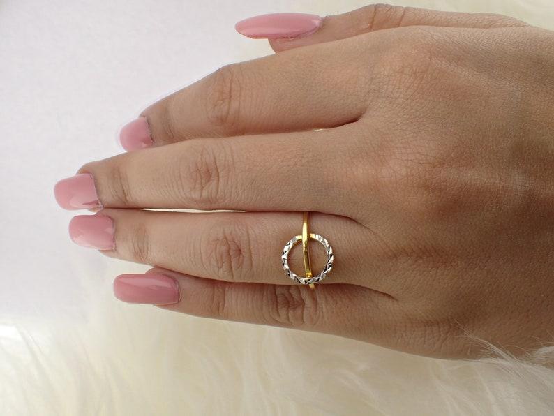 Minimalist Ring Design with a Circle Band Silver Stacking Band Delicate circle Band Thin Dainty Band