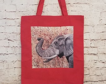 Elephant Paint Splatter Canvas Tote Bag
