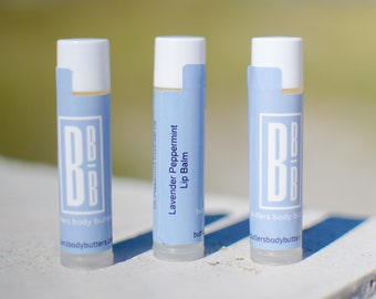 Lavender Peppermint Lip Balm    Handmade All Natural Lip Butter   Vegan Lip Moisturizer   Coconut Oil Free Skincare   Beauty Product Gift