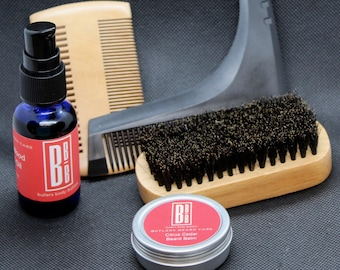 Beard Grooming Set for Men, Essential Oil Scented Balm and Oil, Brush Comb and Scissor Accessories, Dopp Kit Groomsment Gift, Gifts for Men