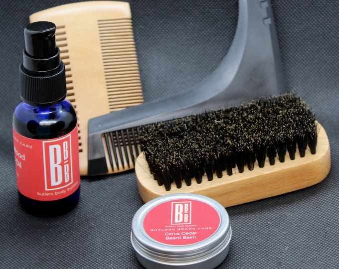 Featured listing image: Beard Grooming Set for Men, Essential Oil Scented Balm and Oil, Brush Comb and Scissor Accessories, Dopp Kit Groomsment Gift, Gifts for Men