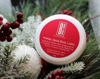 LIMITED EDITION Holiday Spice Body Lotion, Essential Oil Whipped Body Butter, All Natural Coconut Oil Free Lotion, Skincare Gifts