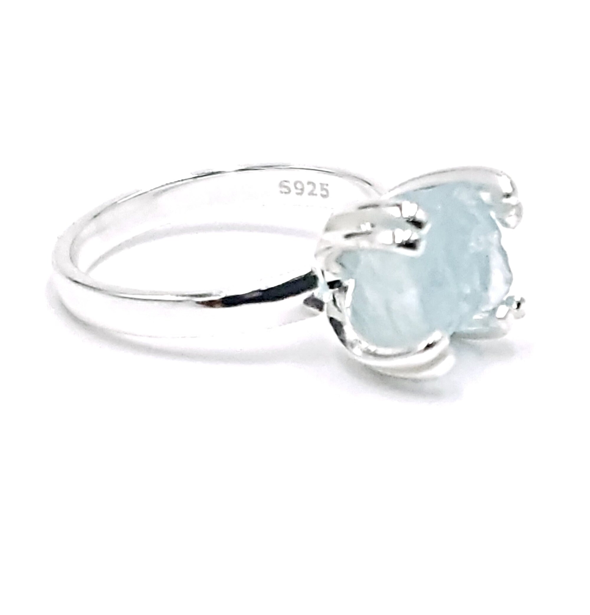 Sterling silver and aquamarine adjustable ring