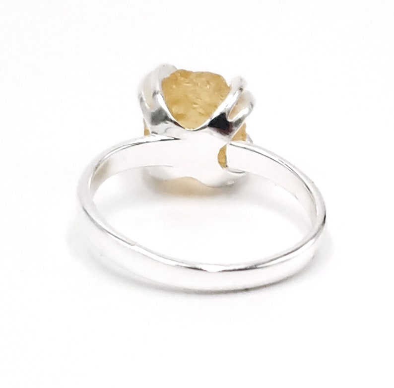 november birthstone solitaire ring perfect for size 6 to 8 with 925 sterling silver prong mount Natural raw citrine adjustable ring