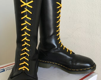 d582e770097c 90 s Vintage Dr Martens 14-eye Boots US 8 airwair ENGLAND dr. 1914 womens  tall leather skinhead combat MIE uk6 black woman doc shoes calf oi