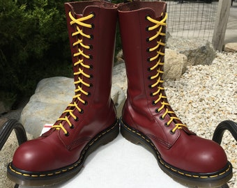 2972d16f6 90's Vintage Dr Martens Steel Toe US 8 oxblood 14-eye boots cherry red doc  1940 dr. doc mie made in England oi airwair eyelet uk6 skinhead