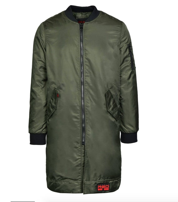Double Red LONG Flight Jacket Olive green bomber punisher overcoat ma 1 alpha industries fred perry parka ben sherman dr. martens skinhead
