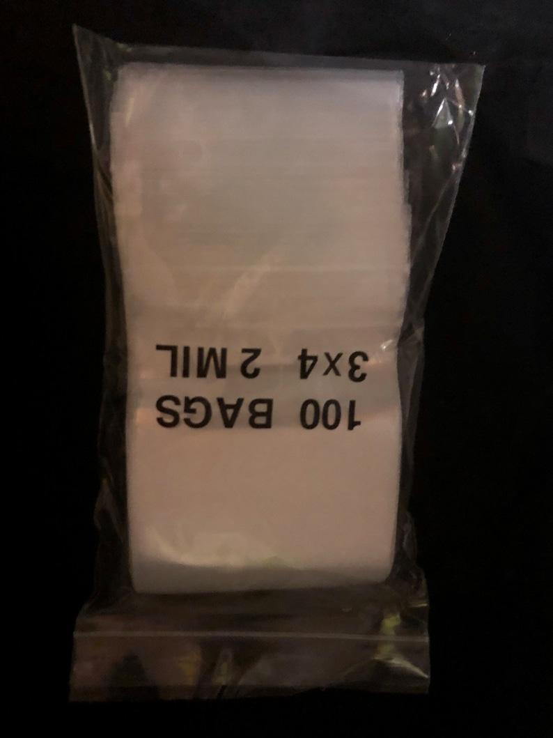 "100 3/""x4/"" white block small  ziplock bags 2mil"