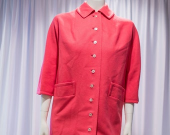 Townley Coat Bright Pink Collared Button Front Vintage 1960s Size Medium