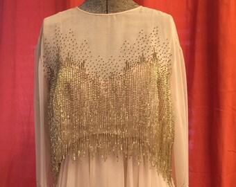 8986631959 Victorian Royal Ltd 1960s Beige Chiffon Dress Set with Beaded High-Low Crop  Top Size Medium/8 Vintage Glamour
