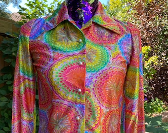 1960s 1970s Psychedelic Rainbow Burst Long Sleeve Top Vintage Size Small