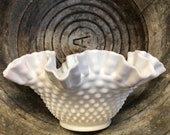 Vintage - Fenton - White Milk Glass - Hobnail Base W Ruffles - Flower Fruit Decor Bowl Vase - Fine Home Cottage Decoration - Shabby Chic