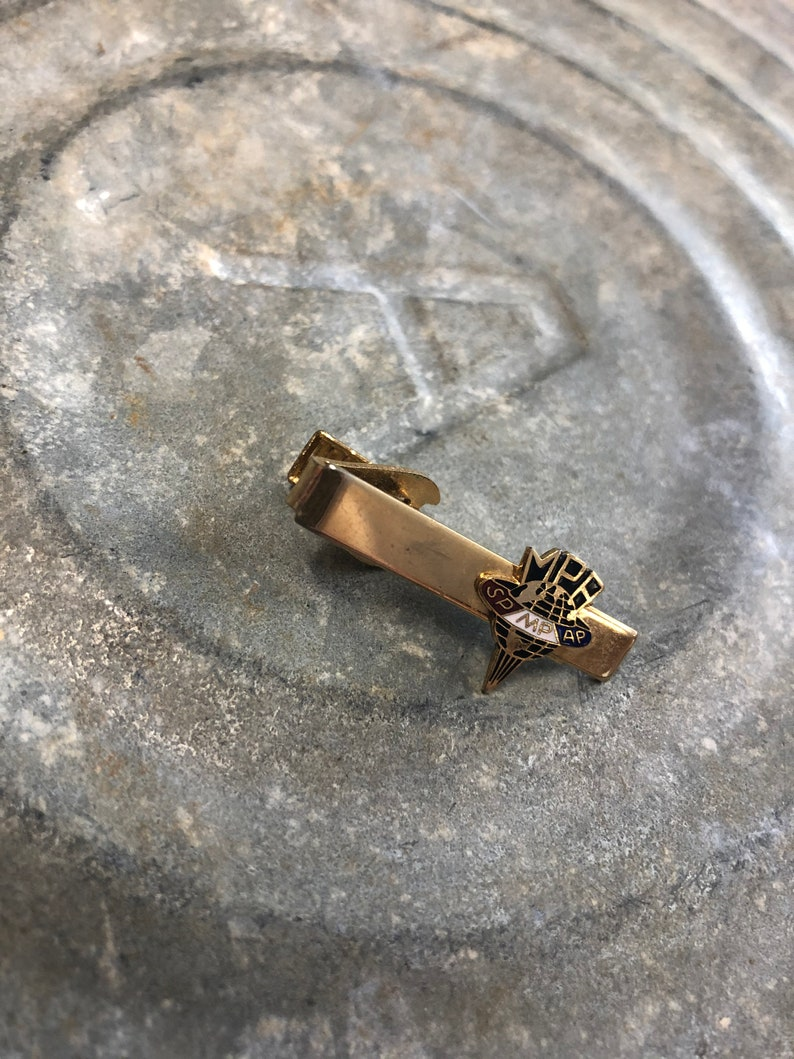 Gift for the working man Menswear Accessory Vintage sp mp ap Tie Clips and Tacks Small Collectible MPA Gold Tone Tie Clip