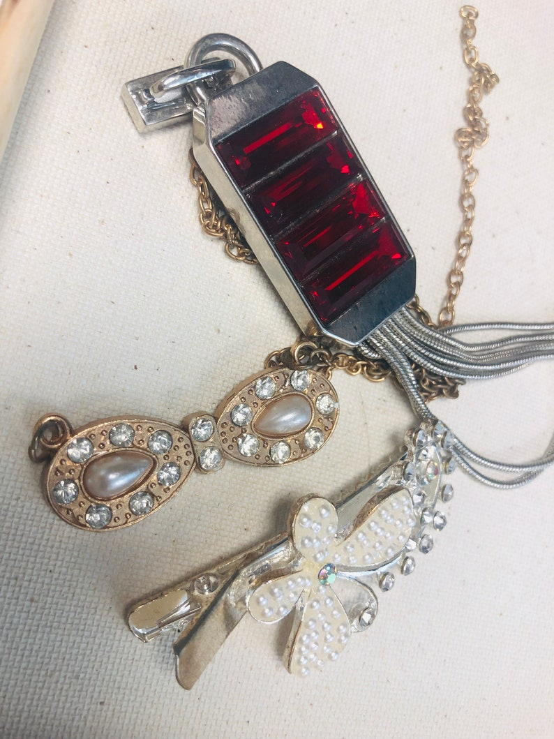 Lot of Three Jewelry Making Supplies Materials Steam Punk Mixed Style and Material Pearl Gold Ruby Silver Broken Jewelry