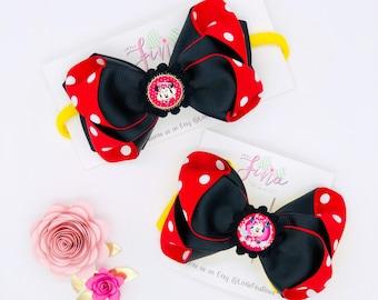 Black & Red Hair Bow, Minnie Mouse Inspired Hair Bow Clip, Minnie Baby Bow Headband, Minnie Mouse Birthday Hair Bows, Baby Nylon Headband