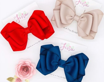 Solid Color Hair Bows for Girls, Toddler Solid Color Bows, Solid Grosgrain Ribbon Hair Bow, Cute Red Hair Bows, Alligator Hair Clips Bows