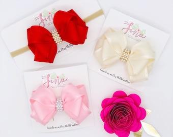 Pink Baby Girl Headband,  Baby Shower Gift, Baby Headband Bows, Red Newborn Headband, Nylon Headband, Infant Headbands, Newborn Photography