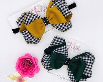 Buffalo Plaid Hair Bow, Plaid Baby Headband, Green Buffalo Plaid Bows, Buffalo Plaid Baby Bows, Mustard Headband for Girls, Black Plaid Bows