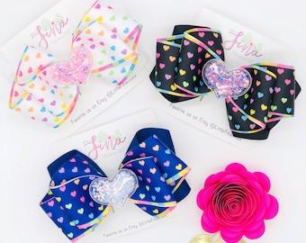 Rainbow Hearts Valentine Hair Bows, Girls Hair Accessories for Valentines Day, Nylon Headbands Bows for Baby Girls, Toddler Girls Hair Bows