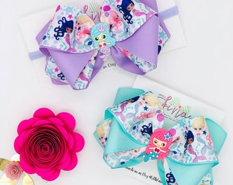 Mermaid Hair Bows for Girls, Mermaid Crown Headband for Baby Girls, Mermaid Party outfit for Toddler Girl, Girls Mermaid Hair Clips for Girl